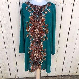 Green  brown boho flowy printed dress xl